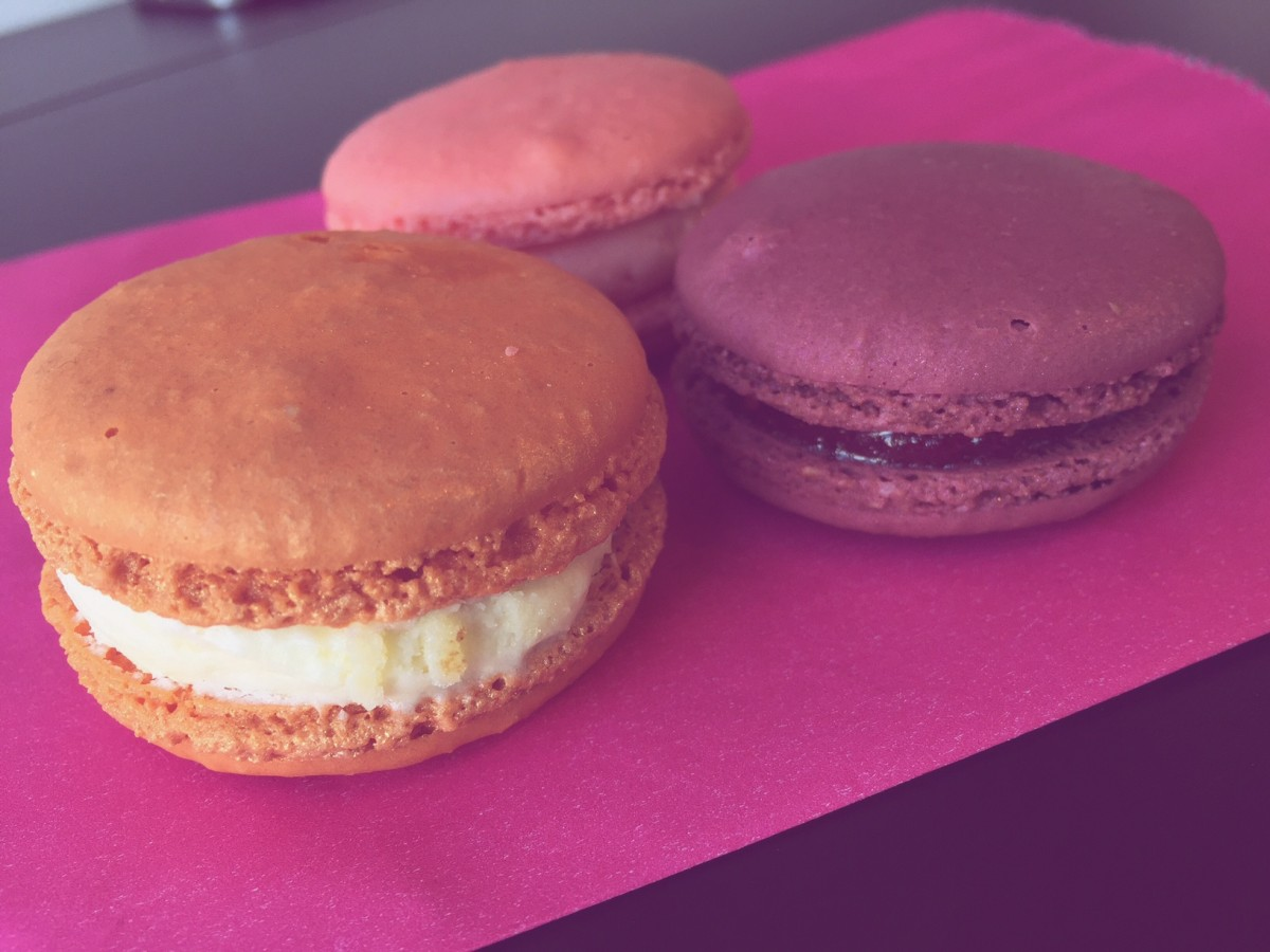 Orange Blossom, Rose Lychee, and Raspberry Macarons